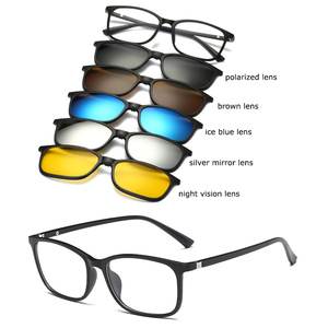 Image 4 - Bellcaca Spectacle Frame Men Women Eyeglasses With 5 PCS Sunglasses Clip On Computer Optical Clear Glasses For Male Female BC328
