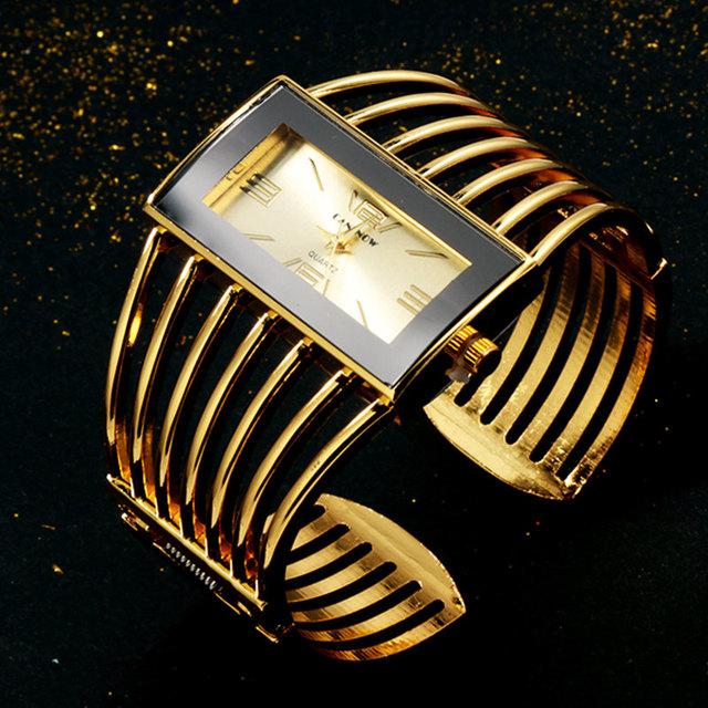 Reloj de pulsera  para mujer, reloj de pulsera color oro rosa, de lujo.