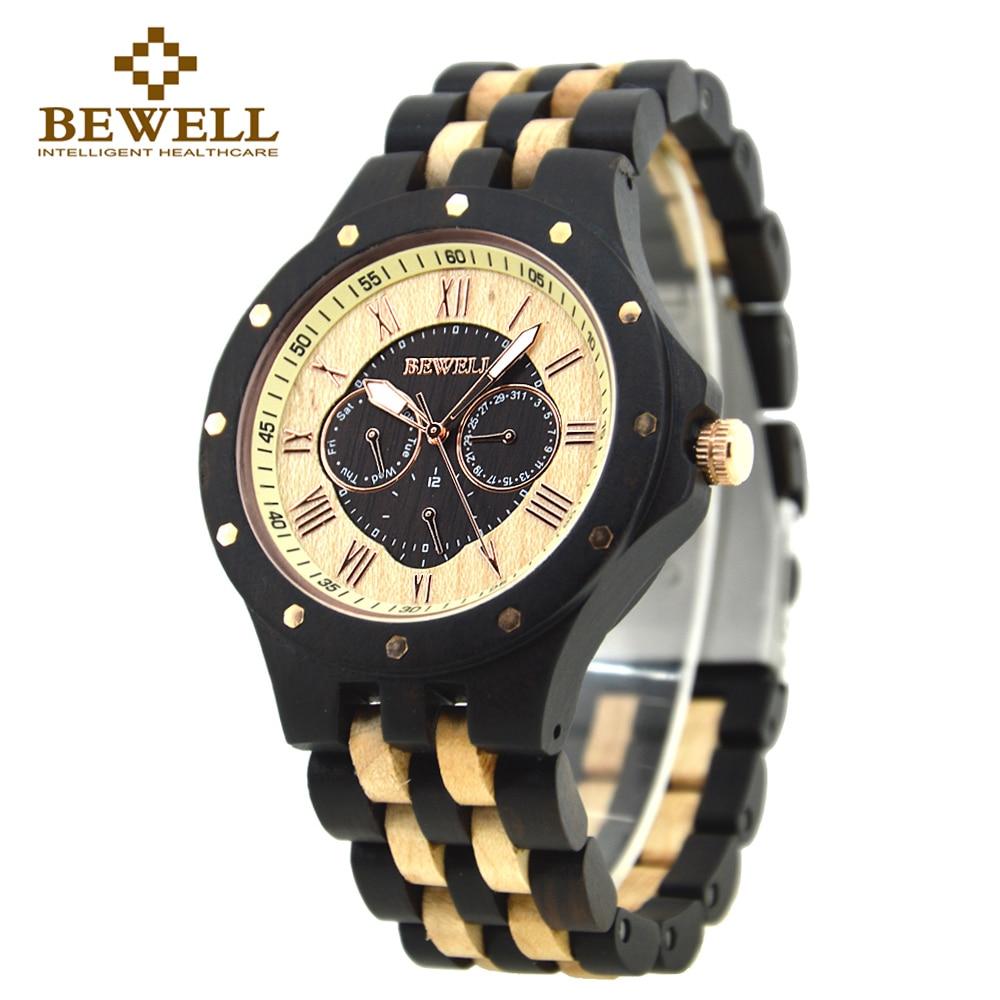 BEWELL 116C Многофункциональный Деревянные часы Круглый корпус с полным календарем неделю Дисплей мужские часы лучший бренд роскошные часы