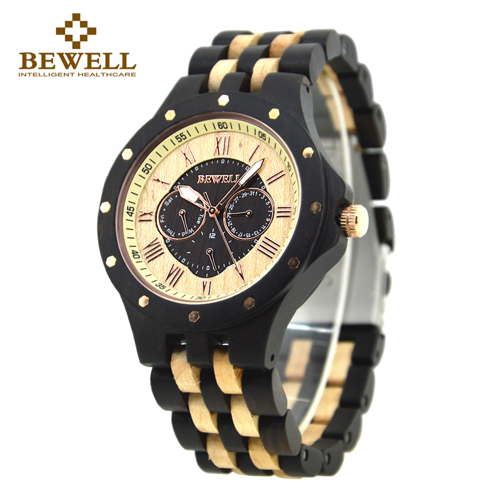 BEWELL Wooden Watch Men Wood Quartz-watch Sport Amry Mens Watches Top Brand Luxury 2016 for Boy Paper Box Watch Repair Tool 116C 2016fashion top luxury brand unique vogue mens quartz watches wooden outdoor sport watches clock casual wood watch