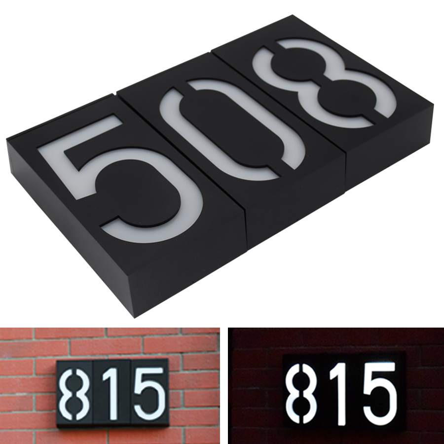 House Number Solar Light LED Bulb Digital Solar Powered Lamp Wall Mount Illumination Doorplate Porch Lights With Battery