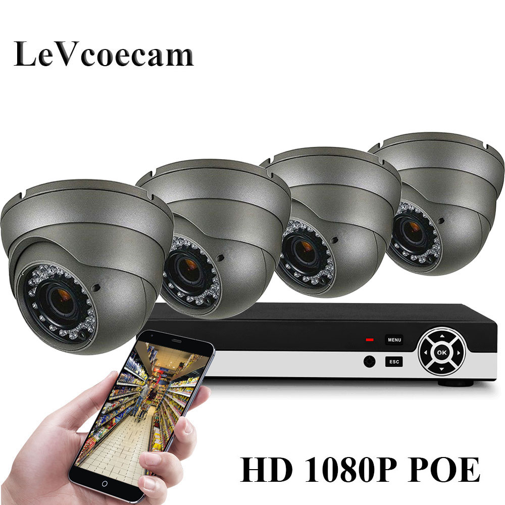 H.265 4CH POE NVR Kit 2MP 1080P Security Camera CCTV System Outdoor IP Camera IP66 Waterproof P2P Onvif Surveillance Set image