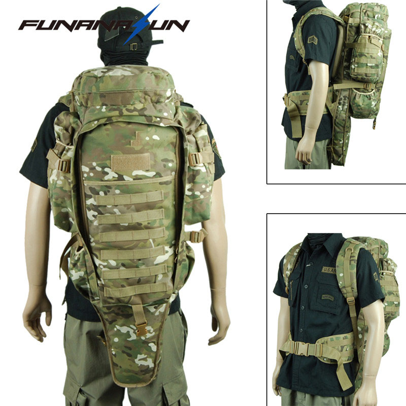 цена на Tactical USMC Military Rifle Backpack Large Padded Dual Shotgun Carrying Molle Bag Hunting Gun Backpack Hiking Climbing