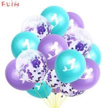 15pcs Cartoon Mermaid Inflatable Balloons Multicolor Confetti Wedding Kids Birthday Christening Sea Theme Event Party Decoration