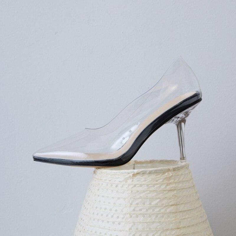 510d081acf4d4 Pointu Talon Pvc Avec Chaussures Verni Robe Blanc Mujer Zapatillas Mariage  Show Cuir As as Bout New Haute Claires De Femme ...