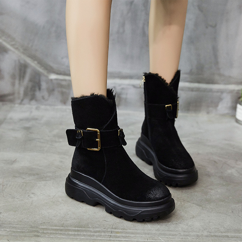 Women s Winter Boots 2018 Genuine Leather Buckle Warm Plush Snow Boot Black Ankle Boots For