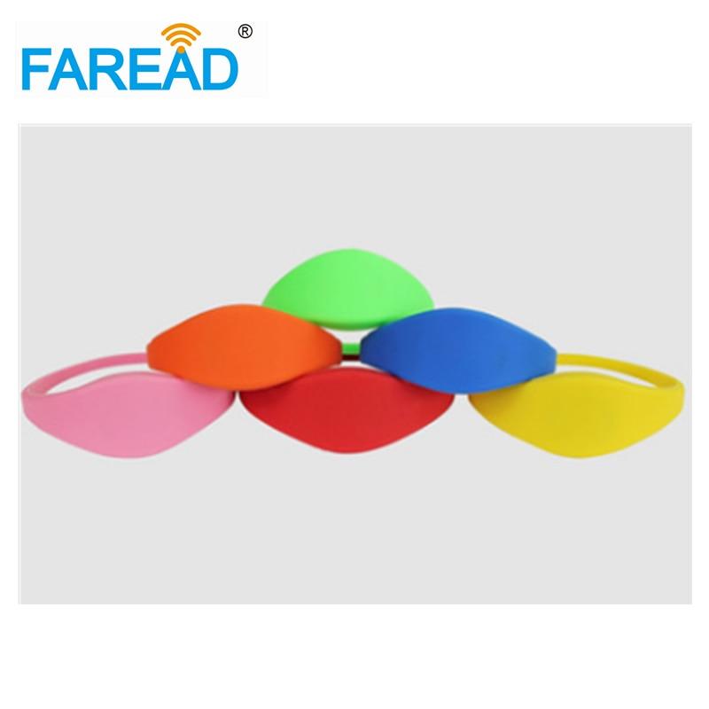 X100pcs Free Shipping 13.56MHz Ntag203  RFID Wristband  For Supermarket, Amusement Park, Theme Park
