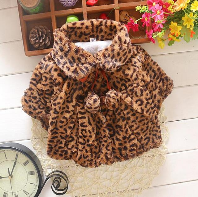 Kids Poncho Winter Children Outwear Girl Warm Leopard Coat For 0~4 Years Baby 3 Colors