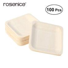 100 шт квадратные одноразовые деревянные тарелки для вечеринки посуда для свадебного ресторана пикника день рождения 140x140 мм