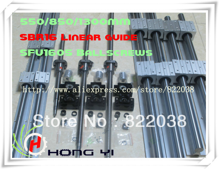 2 X SBR16 Linear Guides L = 500/800/1300MM & 3pcs BALL SCREW RM1605 - 550/850/1300MM & 3pcs BK/BF12 & 3pcs Couplers 6.35 * 10 3pcs of ballscrews rm1605 400 1000 1300mm c7 3bkbf12 sbr16 400 1000 1300mm rails 12sbr16uu bearing blocks 3pcs nut housing