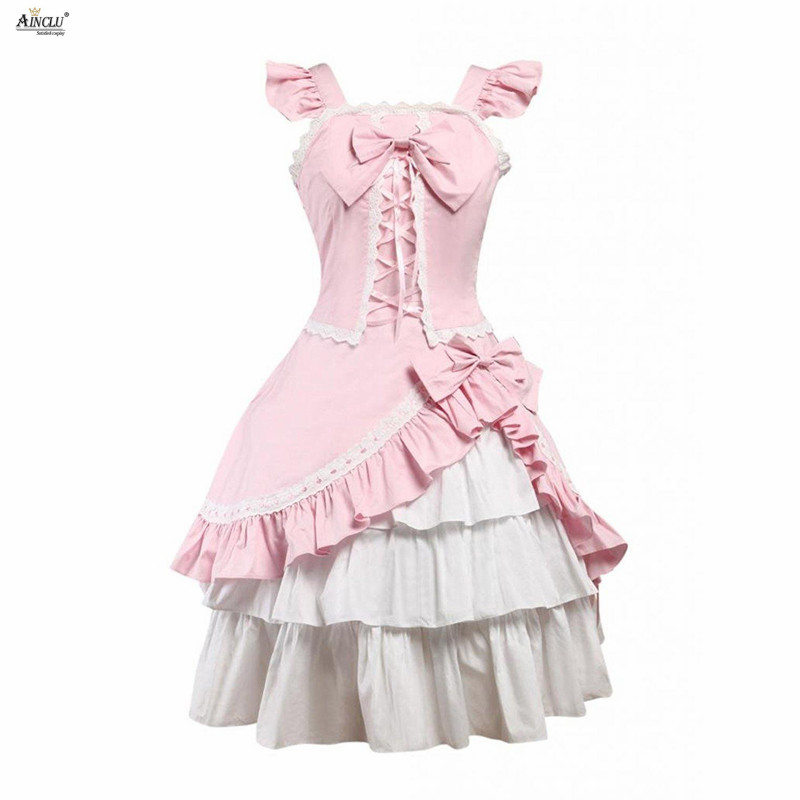 Classic Lolita Dress Womens Cotton Pink Sleeveless Lace-Up Ruffles Elegant Aristocracy Lolita Dress Vrsatile Occasion XS-XXL