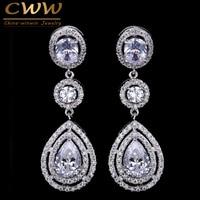 Super Luxury Women Costume Jewelry Micro Setting Full Round CZ Diamond Crystal Dangling Long Drop Earrings