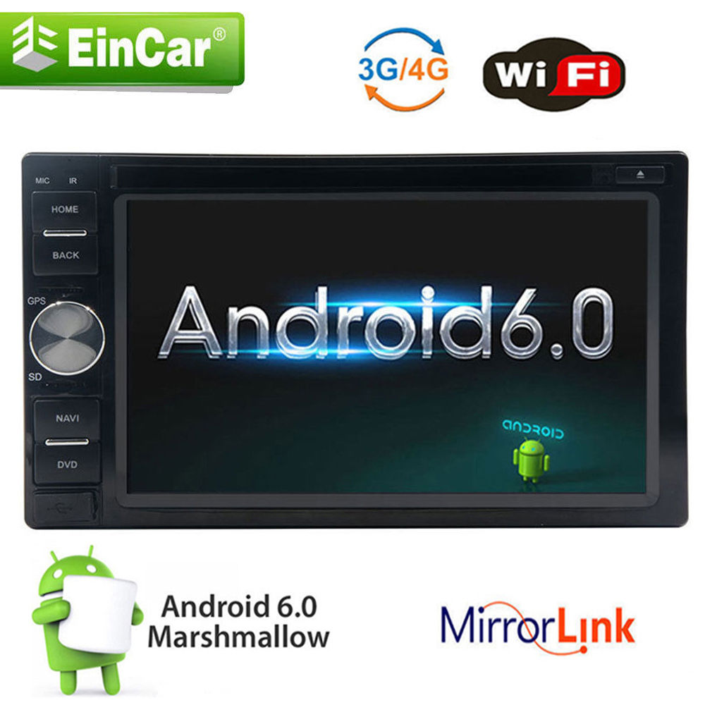 6.2 2 Din Android 6.0 HD Car DVD Mutimedia Player WiFi 4G Radio GPS Stereo Nav