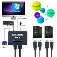 Interruptor HDMI KVM de 2 puertos con extensión de cable a 50 metros interruptor de EL-21UHC cable incorporado 4K resolución compatible con varios USB devic