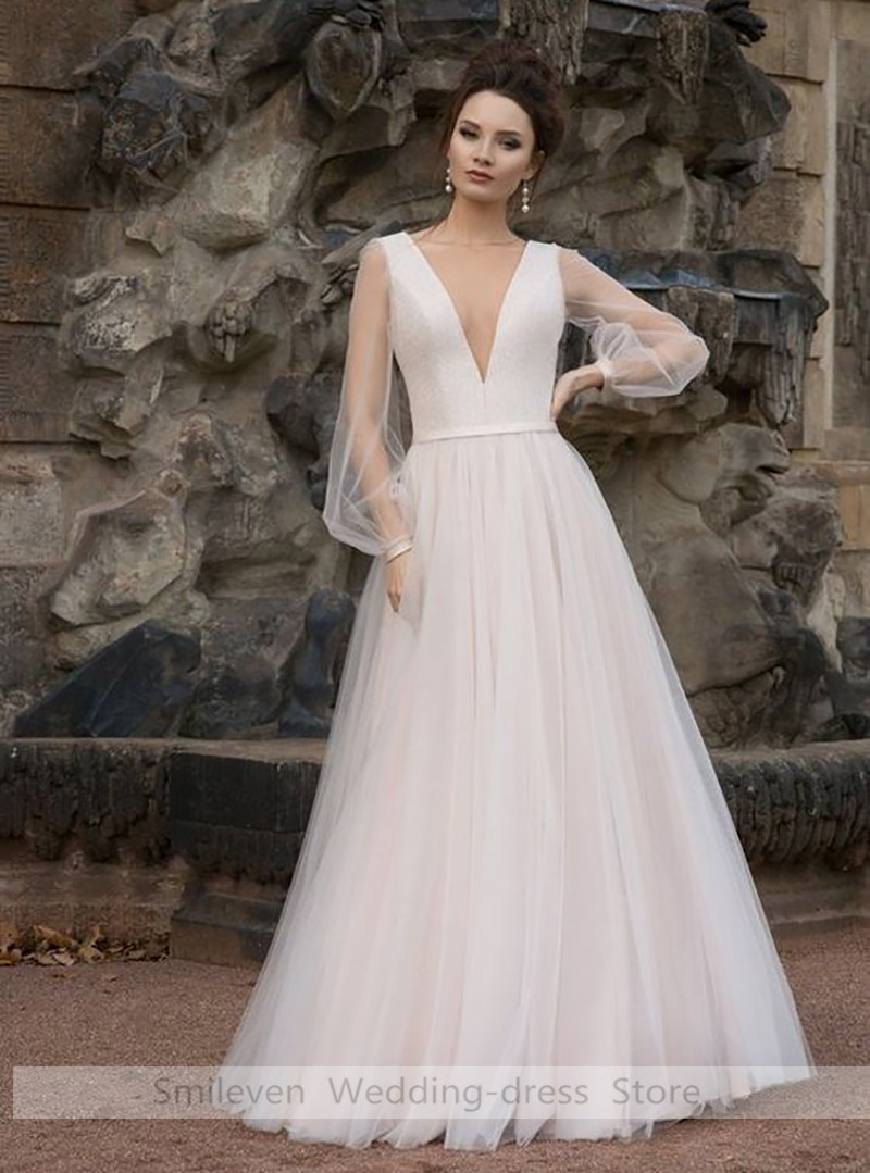 A Line Wedding Dress Boho 2019  Puff Sleeves Bride Dress Boat Neck New Fashion Wedding Gowns Buttons Back  Floor Length