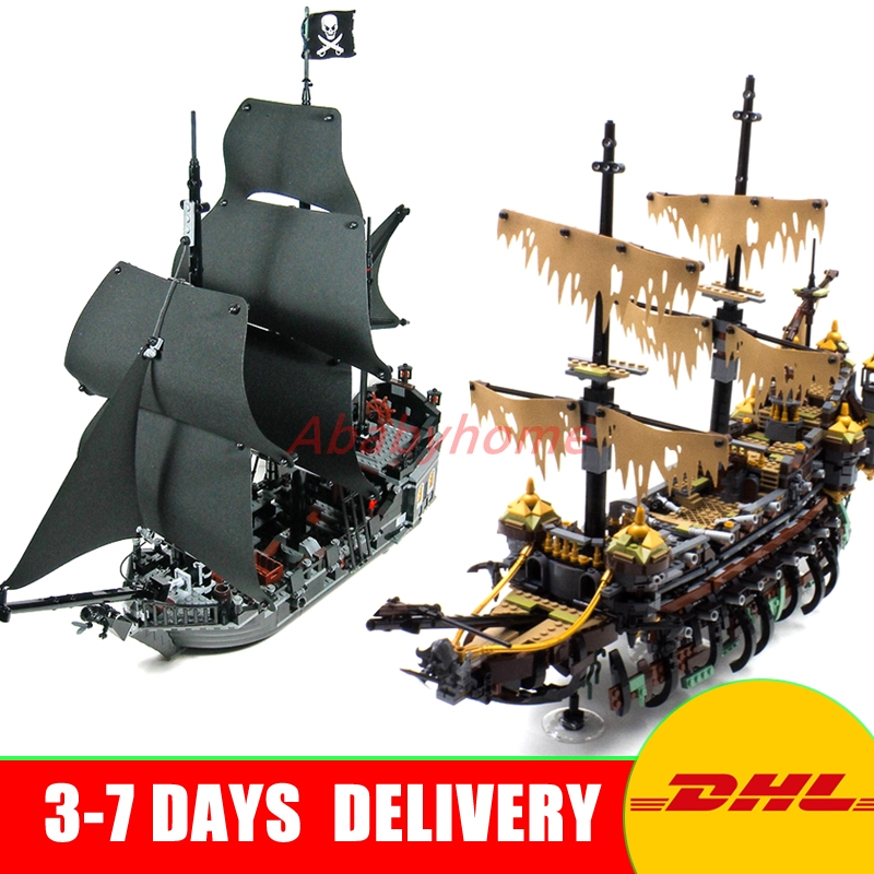 DHL Copy 71042 LEPIN 16042 2344PCS Pirate of The CaribbeanThe Slient Mary Set+16006 The Black Pearl Ship Building Kit Blocks lepin 16006 804pcs pirates of the caribbean black pearl building blocks bricks set the figures compatible with lifee toys gift