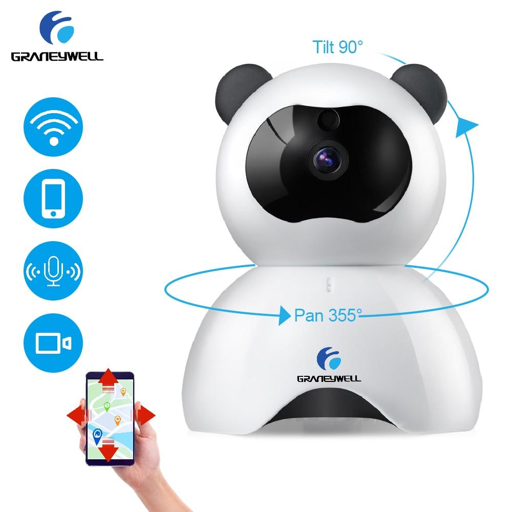 GRANEYWELL 720P HD WIFI P2P Motion detection night vison Wireless Security Surveillance IP camera Panda  (white & black) escam wifi alarm system 433mhz 1527 motion detection ip camera hd 720p
