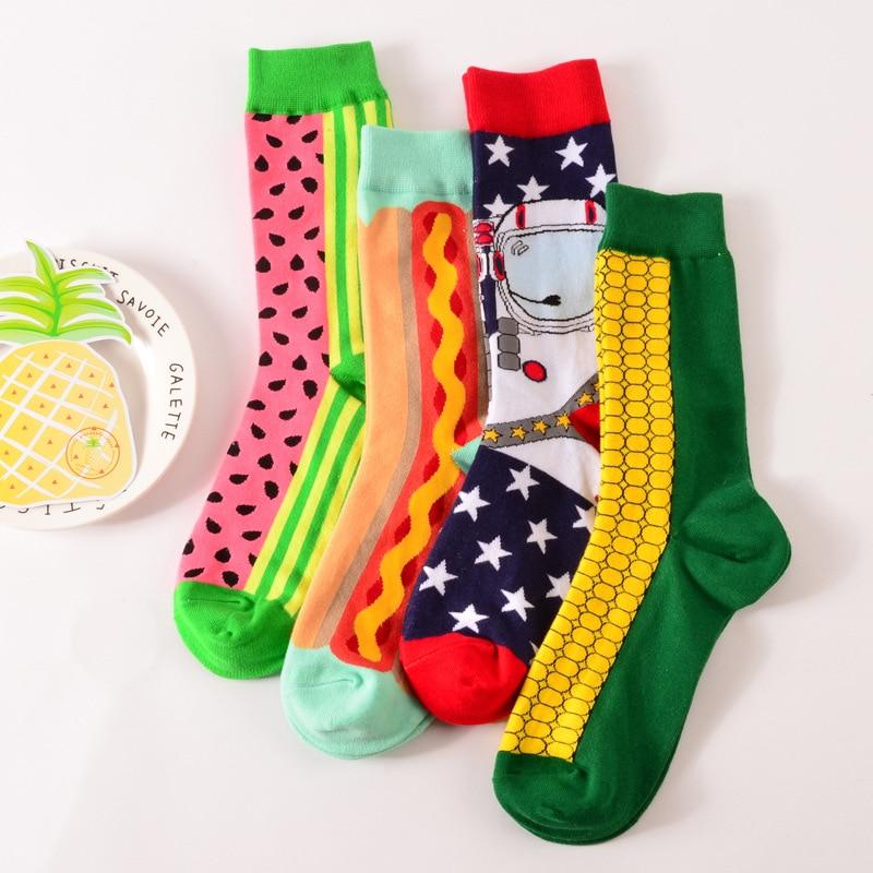 4 Pairs Mix Design Fashion Happy Socks Men Women Style Delicious Food Series Cotton Crew