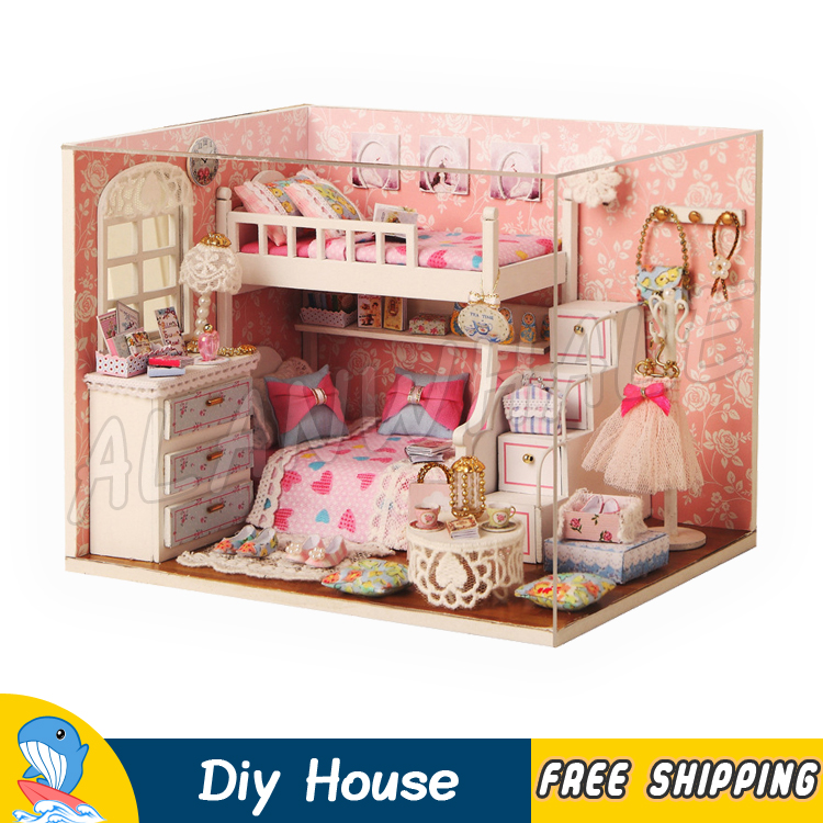 Miniature Doll House Princess Living Room DIY Girls Dream Wooden Dollhouse Furnitures Te ...