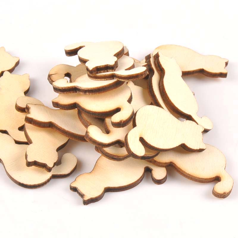 25Pcs Cat Pattern Wooden Crafts Scrapbook DIY For Wood Slices Ornaments Handmade Home Decoration Accessories 23x35mm M0923