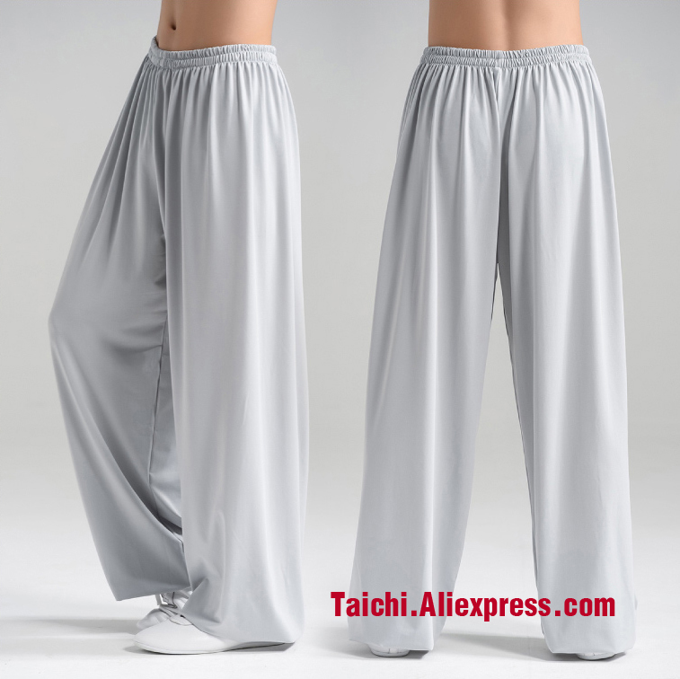 Tai Chi Pants  Kung Fu Martial Art Pants Yoga Pants Gray White Red Blue Pink Black Free Shipping