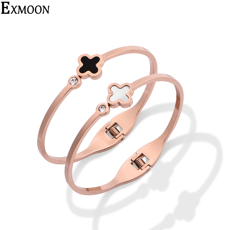 NEW arrival Fashion top quality Clover Titanium Steel Bangle gold-color Bracelets&Bangles Jewelry Opening Bracelet for women hot sell middle east brand titanium steel leopard bracelet bangle for women double wire full drill bangles bracelet top quality
