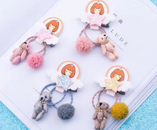 3-4pcs/set New Delicate cloth bear elastic hair band Pom pom ball rope rubber personality princess accessories