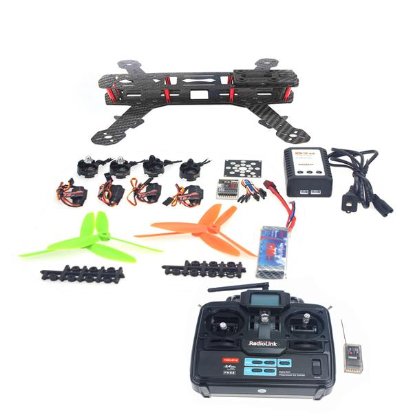 4-Axis Aircraft Kit with Carbon Fiber Frame+Motor+ESC+QQ Flight Controller+Battery+6Ch Transmitter and Receiver F09205-H millet fiber reinforced electric brushless boat with b2445 motor 30a esc with bracket and radio transmitter free adjustment
