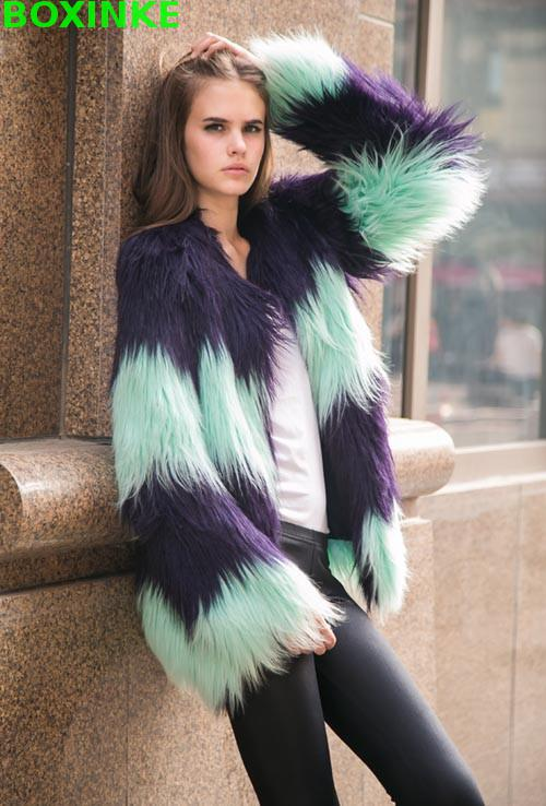 Foncé Blue À Manteau Couleur Fashion Taille Picture Color Limitée Imitation Plein Couture cou Cheveux Fourrure Et Robe De Gilet O Veste Large Fluorescent Top q8TfFwq