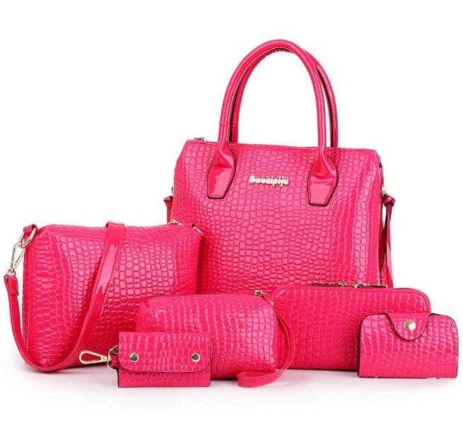 6 PCS Set Women Bag Crocodile Pattern Composite Bag Stone Women Messenger  Bags Shoulder Handbag Purse Wallet PU Leather Handbags-in Shoulder Bags  from ... 6bb8a55ba2