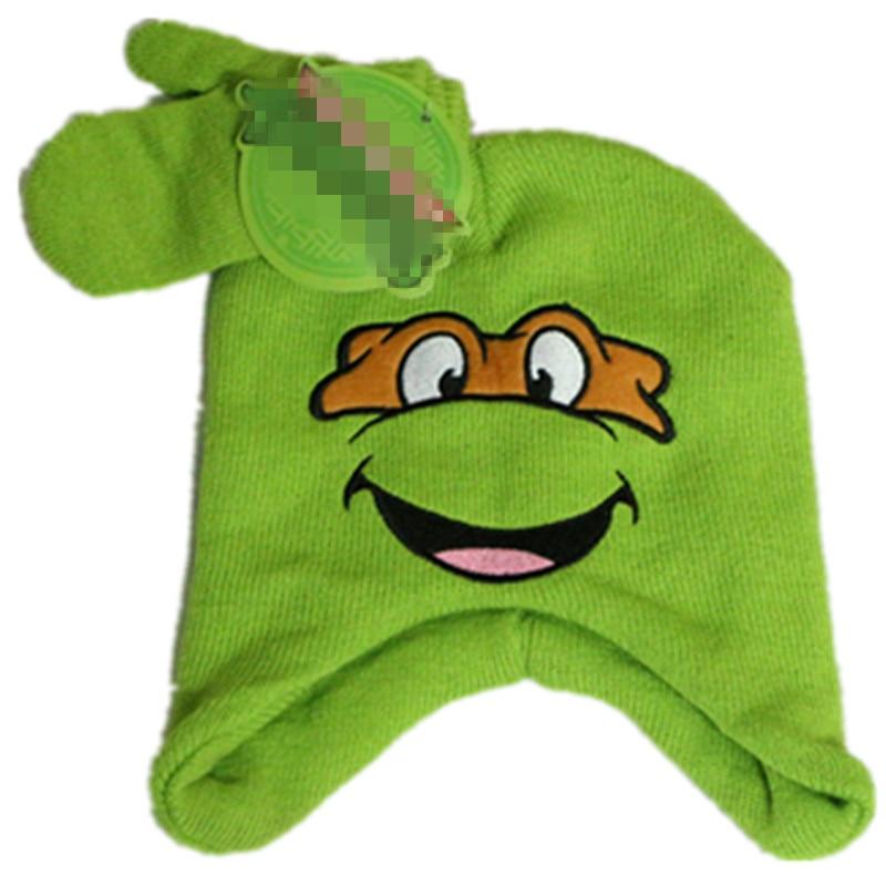 Cute Winter Green Turtles Knitted Skullies Beanies Kids Cartoon Tortoise Hooded Hat Mittens Earflap Cap Sets Christmas free gift skullies