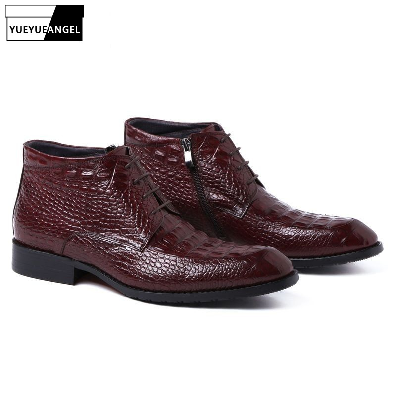 2019 New Fashion Men Oxfords Shoes Lace Up Pointed Toe Genuine Leather High Top Boots Business Dress Wedding Ankle Shoes Brown