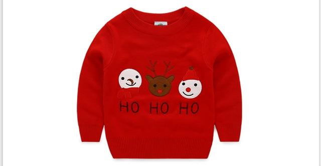 New 2016 Children Sweater England Style Brand Baby Boys Girl Winter Thicken Deer Pattern O-neck Knitted Sweater Kids Knitwear
