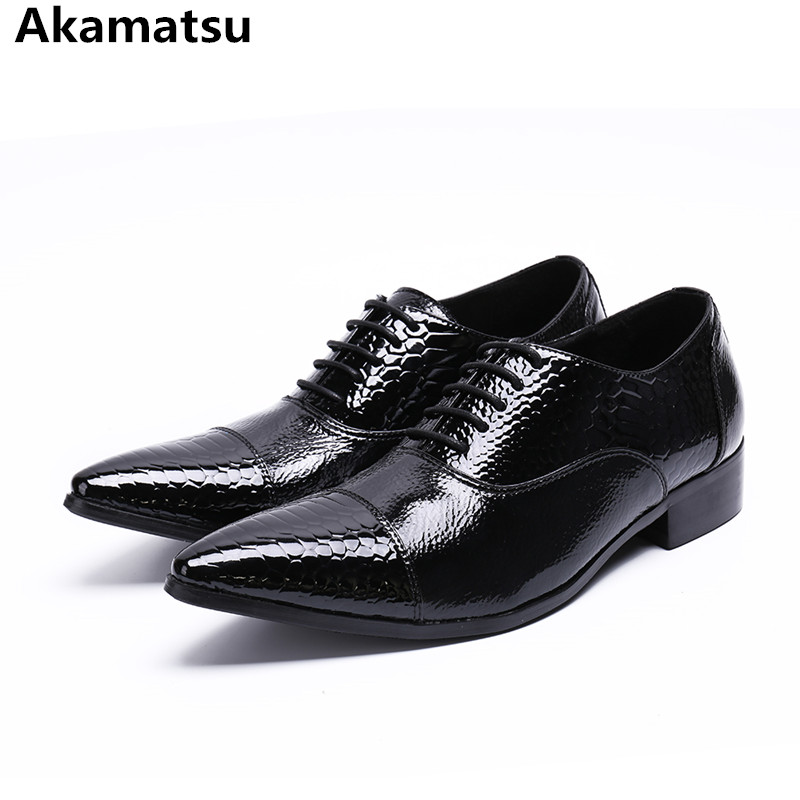 Classic mens patent leather black shoes pointed toe office oxford shoes for men lace up crocodile elegant sapato masculino classic style classic mens dress shoes deep coffee color genuine leather oxford shoes for men lace up pointy loafers high heels
