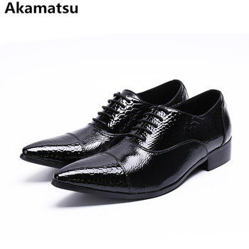 Classic mens patent leather black shoes pointed toe office oxford shoes for men lace up crocodile elegant sapato masculino