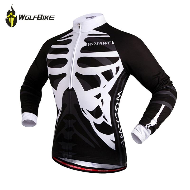 Camiseta WOLFBIKE de manga larga para ciclismo, bicicleta de MTB, carreras de motocross, camisa de secado rápido para primavera y otoño