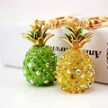 Tropical Fruit Pineapple Crystal Keychains Purse Bag Buckle Pendant For Car Keyrings High-grade Gift key chains holder K231