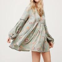 Khale Yose Spring Mini Dress Ethnic Sundress Vintage Dress Women Floral Print Hollow Out Patchwork Cotton