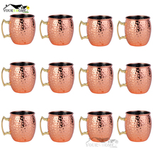12 Piece 550ml 304 Stainless Steel Drum Type Moscow Mug Hammered Copper Plated Beer Cup Water Glass Drinkwares