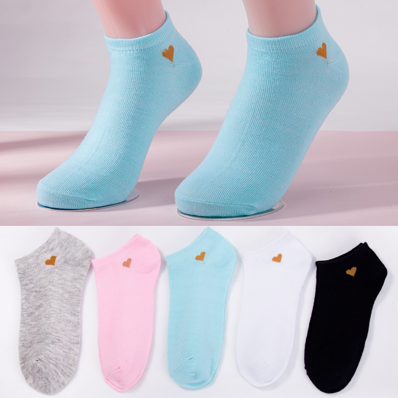 5 Colors Women Socks Girls Casual Heart Boat Socks Fashion Lady Spring And Summer Short Ankle Socks 2019 New Style Dropshipping