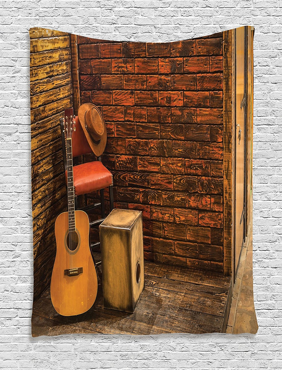 Music Decor Tapestry Wall Hanging Music Instruments On Wooden Stage In Pub Beverage Cafe Counter Bar Drum Bedroom Dorm Decor