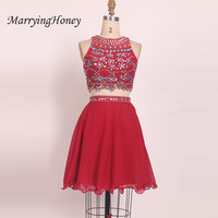 Sexy Two Pieces Burgundy Crystal Beaded Short Homecoming Dresses 2017 Real Photo A line Chiffon Robe De Soiree