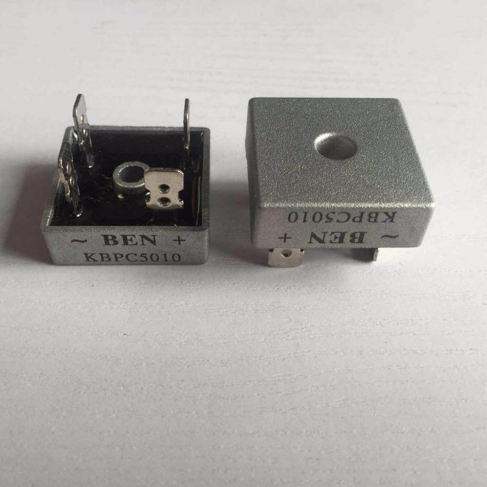 High Quality 100PCS LOT 50 Amp 50A Metal Case 1000V Diode Bridge KBPC5010 1000 Volt Bridge
