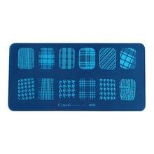 Estampación de Cooi-1-12 para uñas, diseño de celosía, sonrisa, encaje seco, imagen de flores rectangulares 3D, sellos de Metal para placas de Arte para uñas 2021