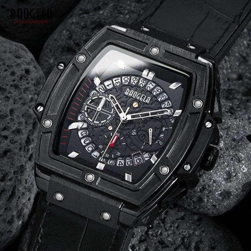 BAOGELA männer Sport Chronograph Quarz Uhren Mode Lederband 24-stunde Display Armee Armbanduhr für Mann 1703 Schwarz