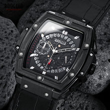 BAOGELA erkek Spor Kronograf kuvars saatler moda deri kayış 24 saat Ekran Ordu Kol Saati Adam için 1703 Siyah
