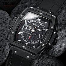 BAOGELA männer Sport Chronograph Quarz Uhren Mode Lederband 24 stunde Display Armee Armbanduhr für Mann 1703 Schwarz