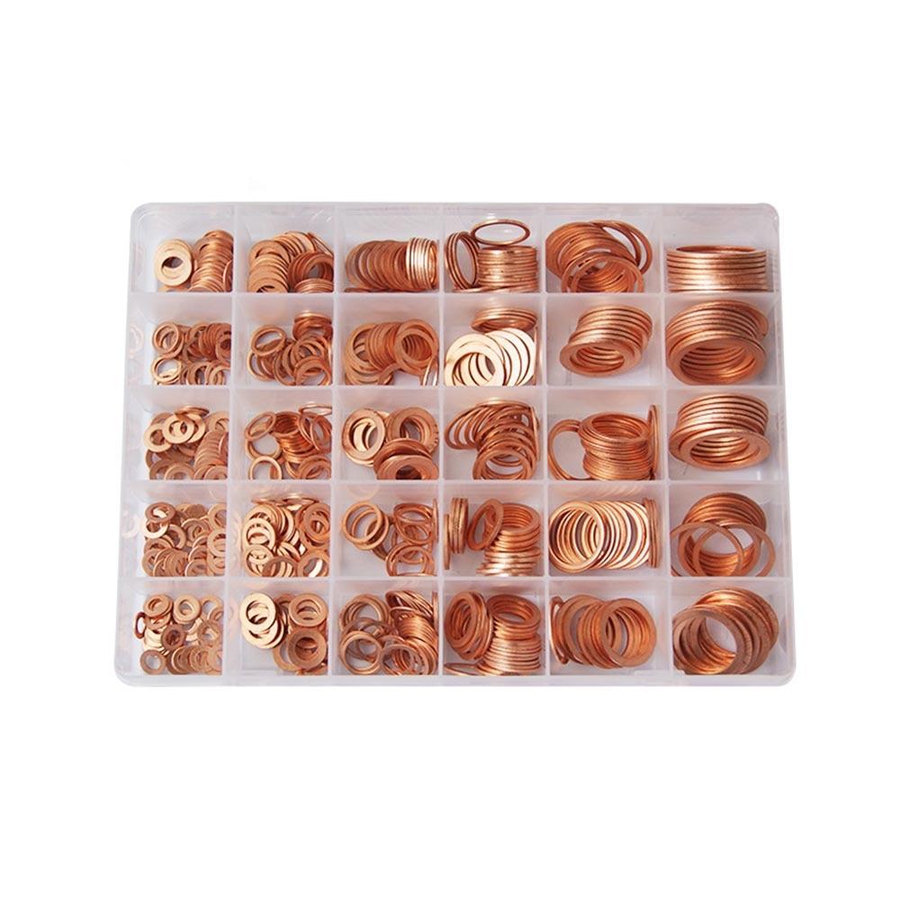 568 pcs/boîte 30 Tailles Solide Cuivre Rondelles jeu de joints anneau plat bouchon de vidange Joint Assorties Rondelle Kit Avec boîte en plastique livraison directe
