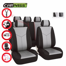 CAR SEAT COVER PU LEATHER AND MESH FABRIC 3 ZIPPERS BLACK GRAY COLOR ACCESSORIES UNIVERSAL FOR FORD NISSAN