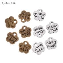 Lychee Life 100 шт в форме цветка сливы ручной работы металлические этикетки для одежды DIY бирки для одежды Швейные принадлежности